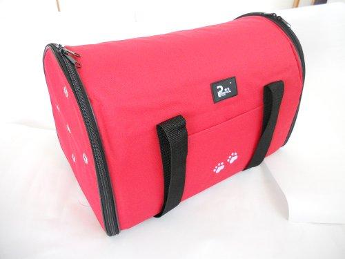 猫用/犬用 ドーム型 折りたたみペットキャリーバッグ 赤 Lサイズ