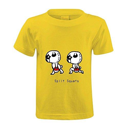 Snowl Pugs Gym Split Squat Kid's Crew Neck Short Sleeve T Shirts Yellow (New Balance Split Shorts compare prices)