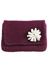 Sarah Oliver Hand Knit Felt Mini Clutch with Pearl (Plum)