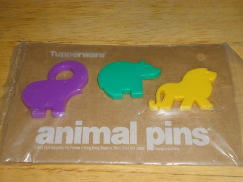Tupperware Animal Pins: Elephant Bear and Lion