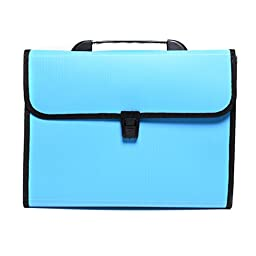 13-Pockets A4 Expanding Accordion File Folder Hemming with Handle, Buckle Closure and Subject Labels.4Colors (Blue)