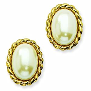 Gold-tone Cultura Glass Pearl Oval Button Post Earring