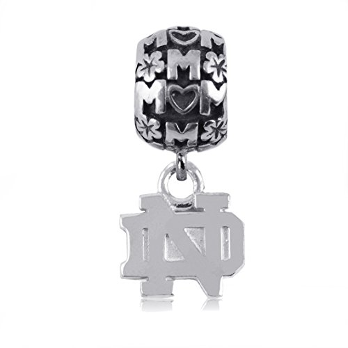 NCAA Notre Dame .925 Sterling Silver Mom Charm Bead, Notre Dame Jewelry