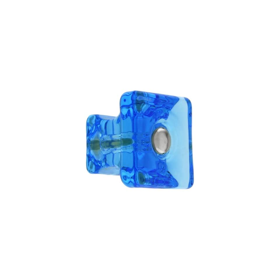 Square Peacock Blue Glass Cabinet Knob With Nickel Bolt. Kitchen Knobs Glass.