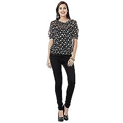 Eavan Women's Casual Wear Black Printed Top Polyester Top