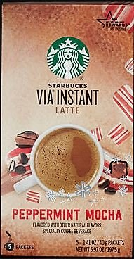Starbucks Via Peppermint Mocha Latte - 5 Single Serve Packets