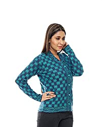 Perroni Women's Embroidered Cardigan (Navy/Turquoise, L)