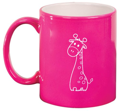 Hot Pink Ceramic Coffee Tea Mug Cute Giraffe Cartoon