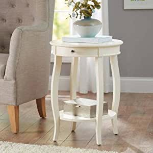 Better Homes And Gardens Round Accent Table With Drawer Ivory Kitchen Dining