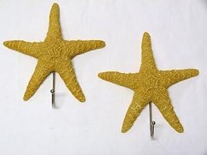 "Set 2 Starfish Towel Hooks - 7.25"" x 6.5"" - Tropical Beach Ocean Decor"