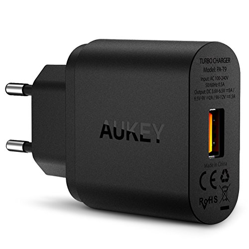 AUKEY-Quick-Charge-30-Cargador-de-Red-18W-Qualcomm-Certificado-para-iPhone-7-7-Plus-Samsung-Galaxy-Note-7-S6-Edge-Plus-Note-5-Note-4-Nexus-6-Samsung-con-Cable-Micro-USB-Negro