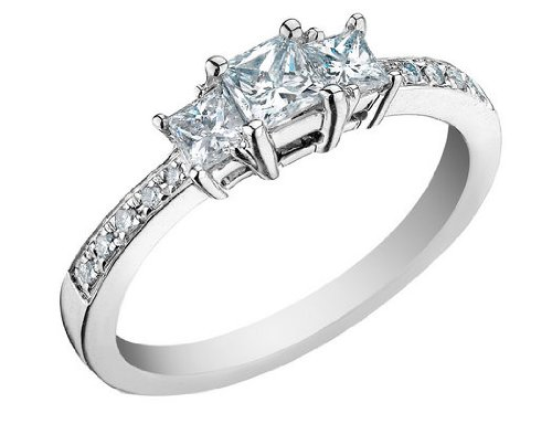Diamond Engagement Ring and Three Stone Anniversary Ring 1/3 Carat (ctw) Princess Cut in 14K White Gold