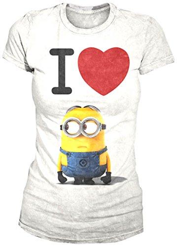I Love Minion (Girly-Shirt M/White)