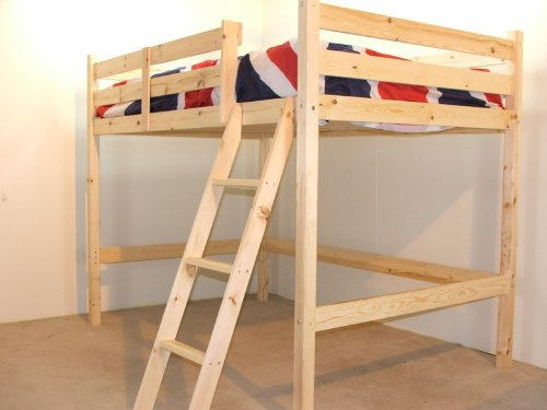 Small Double 4ft HIGH Loft bunkbed - wooden High Sleeper - EXTRA wide base slats - Can be used by adults