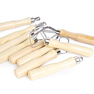 15PCS Stainless Steel Wooden Thick Handle Flat Wire Cutter Clay Pottery Sculpting Tool Set Ribbon Sculpting Tool Kit
