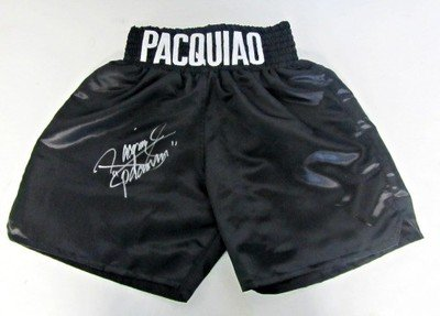 Manny Pacquiao Signed/Autographed Black Boxing Trunks PSA - Autographed Boxing Robes and Trunks