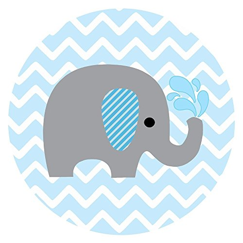Baby Boy Elephant Stickers in Blue and Chevron- Label Party Favors for Baby Boy Shower or Birthday - Set of 50 (Baby Blue Mason Jars compare prices)