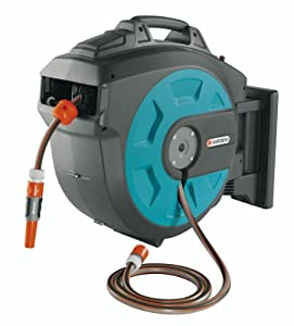 GARDENA 25 Meter Roll-Up Swivel Wall-Mounted Automatic Hose Box with 82-Feet of 1/2-Inch Convenient Hose Guide
