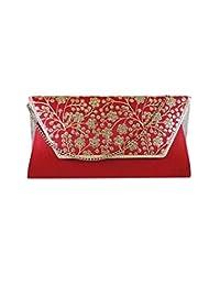 Bhamini Red Raw Silk Clutch With Phulwari Work On Flap