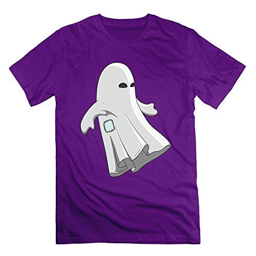 Men's Halloween White Patch Ghost Short Sleeve T-Shirt Purple XXL (Cartman Voice Changer)