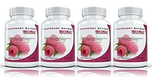 Raspberry Ketone Burn (4 bouteilles) hautement concentré Framboise cétones Supplément Fat Burning Les mieux notées naturel Perte de poids formule