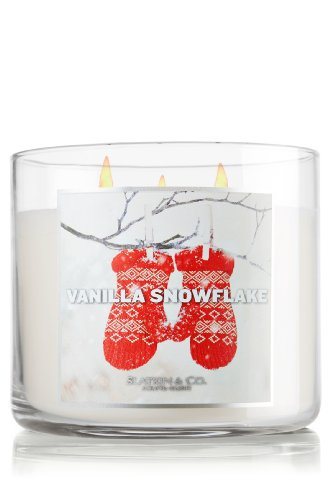 Bath and Body Works Vanilla Snowflake 3 Wick Candle 2012 Design 14.5 Oz
