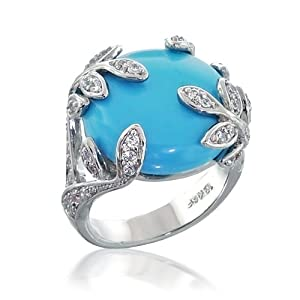 Bling Jewelry CZ Leaves Turquoise Cocktail Ring