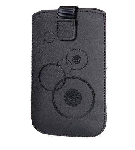 Handytasche Circle für Samsung Galaxy S5 i9600 Handy Tasche Schutz Hülle Slim Case Cover Etui schwarz mit Klettverschluss
