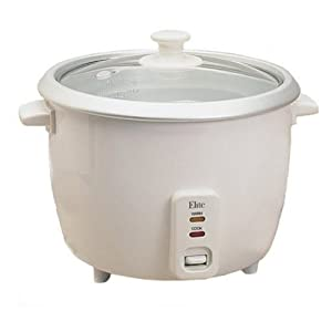 Maxi-Matic ERC-008 Elite Cuisine 8-Cup Rice Cooker with Glass Lid, White