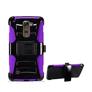 LG Stylo 2 Plus Case, IECUMIE Duo Armor Skin Protective Cover Case W/ Stand, Belt Clip, & Holster for LG G Stylo 2 Plus - Purple