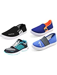 Aircum COMBO Pack Of 4 Pair Of Shoes Blue & Orange, Black & Green (Sport & Loafers Shoes)