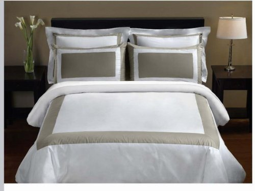 Luxury 5-PC Taupe  White 300 Thread Count Full/Queen