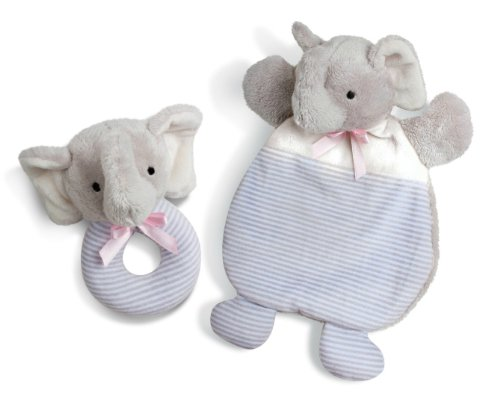 North American Bear First Friends Baby Cozy and Rattle Set, Elephant Gray - 1