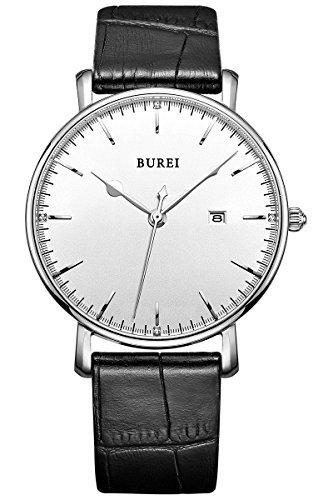 burei-unisex-armbanduhr-weiss-mit-schwarzem-lederarmband