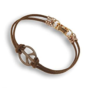 Medium Peace Symbol peace bronze cord bracelet