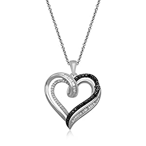Jewelili 1/5 cttw White & Black Diamond Sterling Silver Heart Pendant