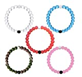 Transparent Silicone Beaded Bracelet X-large Set of 5 (White+Blue+Pink+Camo+ Red) (M-5PS)