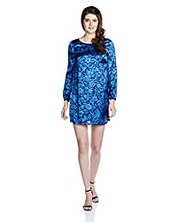 Chemistry Women's A-Line Dress (C16-634WDSDR_Damask Floral blue_Small)