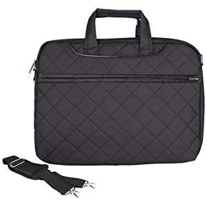14 inch Diamond Quilted Pattern Laptop Notebook Carry Case Messenger Shoulder Bag Briefcase w/Hidden Handle by MyGift