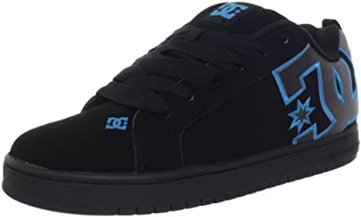 DC Men's Court Graffik SE Action Sports Shoe,Black/Turquoise/Metallic Silver,8 M