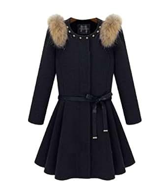 Woman Winter Wool Coat Long Section Neck Jacket