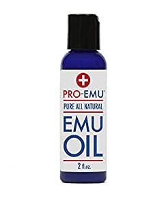 PRO EMU OIL (2 oz) Pure All Natural Emu Oil - AEA Certified - Made In USA - Best All Natural Oil for Face, Skin, Hair and Nails. Excellent for Dry Skin, Burns, Sunburns, Scars, Muscles and Joints