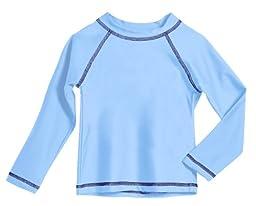 Baby Boys\' Solid Rashguard Swimming Tee Shirt Rash Guard SPF Sun Protection for Summer Beach Pool and Play, Bright Lt. Blue, 12-18 mon, L/S