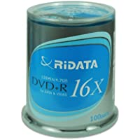 100-Pack RiDATA 4.7GB 16X DVD+R DVD Disc Spindle