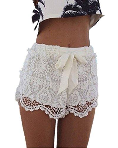 ZANZEA-Sexy-Femmes-dentelle-Crochet-en-mousseline-de-soie-Plage-Shorts-Pantalons