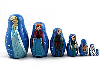 Matryoshka Russian Nesting Doll Babushka Beautiful Cartoon Characters Frozen Elsa Set 7 Pieces Pcs Wooden Hand Painted Souvenir Craft Gift
