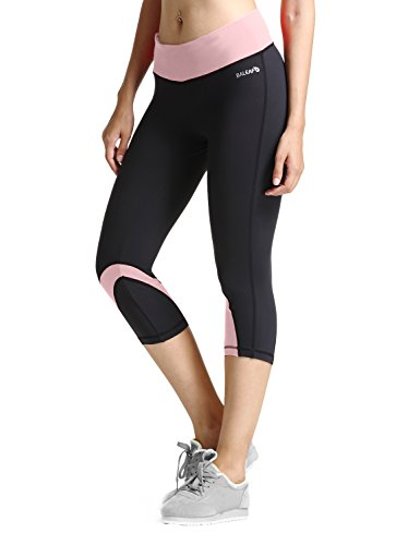 Baleaf Women's Yoga Running Workout Capri Legging Hidden Poc