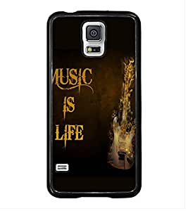 Fuson Premium 2D Back Case Cover Music is Life With Pink Background Degined For Samsung Galaxy S5 G900i::Samsung Galaxy S5 i9600::Samsung Galaxy S5 G900F
