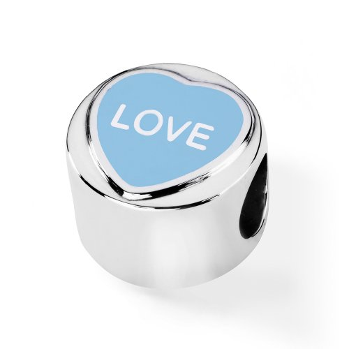 Official Love Hearts Sterling Silver  &  Blue Enamel LOVE Charm