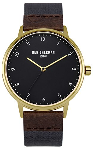 Ben Sherman Men's Quartz Watch with Grey Dial Analogue Display and Blue Fabric Strap WB049UG